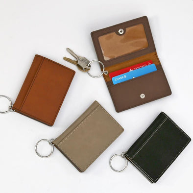 Non-Personalized | Leatherette Keychain ID Holder.