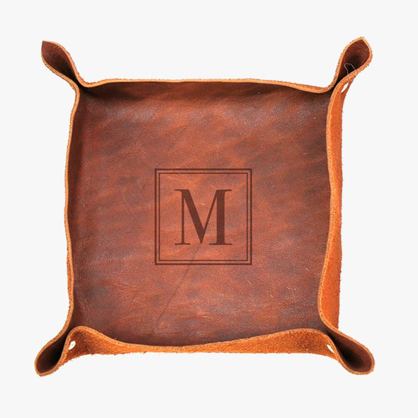 Personalized Genuine Leather Stash Tray.