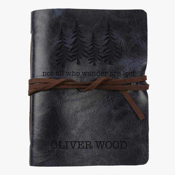 Not All Who Wander Are Lost Custom Leather Wrap Journal - Medium