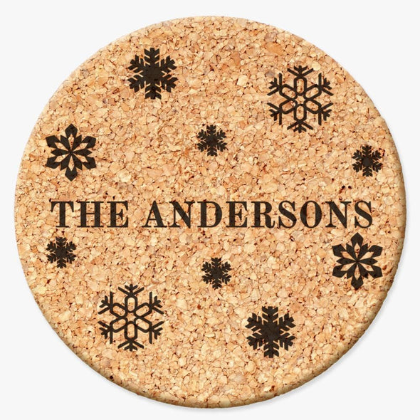 Personalized Family Cork Coasters with Snowflakes design - Set of 2 or 4 coaster