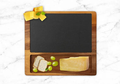 Non-Personalized | Cheese Slate Board w/ Acacia Wood Base.