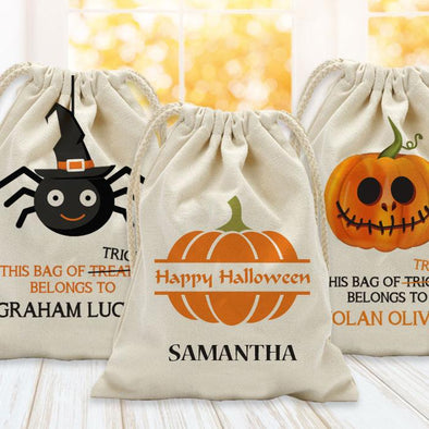 Bag Of Treats Custom Halloween Kids Drawstring Sack | Personalized Halloween Trick or Treat Bag.