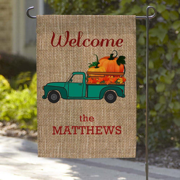 Fall Personalized Family Name Garden Flag.