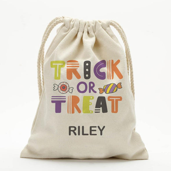Bag Of Treats Custom Halloween Kids Drawstring Sack | Personalized Halloween Trick or Treat Bag