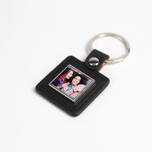 Personalized Leather Square Photo Keychain.