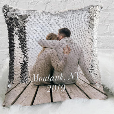 Custom Magic Sequin Pillow Case of Your Family Photo | Personalized Reversible Mermaid Flip Sequin Throw.