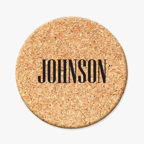 Personalized Initial Round Cork Coasters