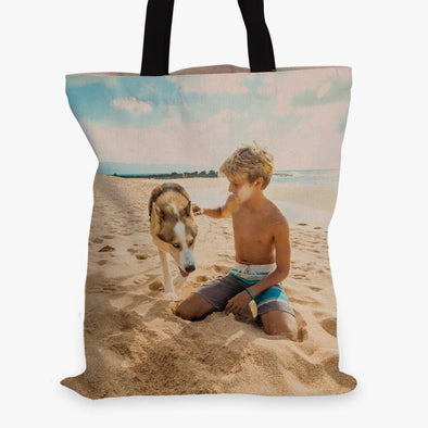 Photo Personalized Black Handle Tote Bag.