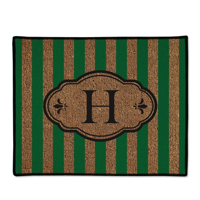 Personalized Initial Green Striped Doormat.