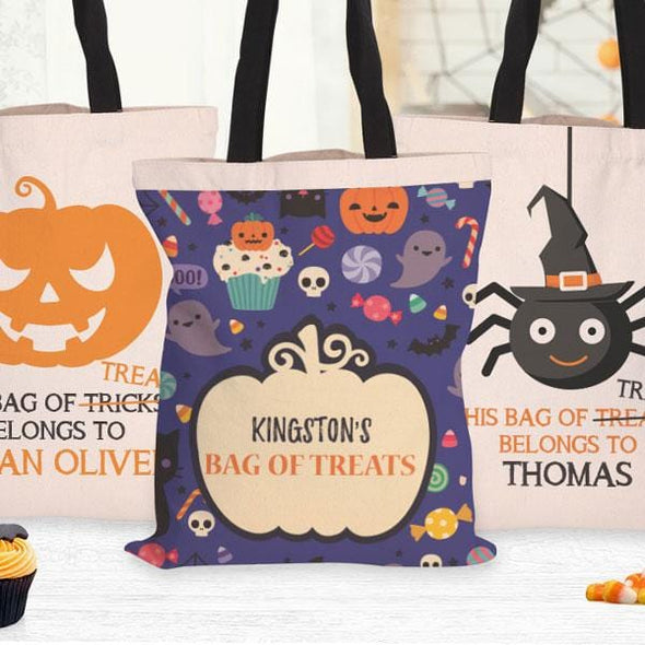 Bag Of Treats Custom Halloween Tote Bag | Personalized Trick or Treat Bag.