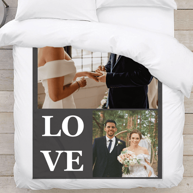 Personalized Photo Blanket | LOVE | Two Image Collage.