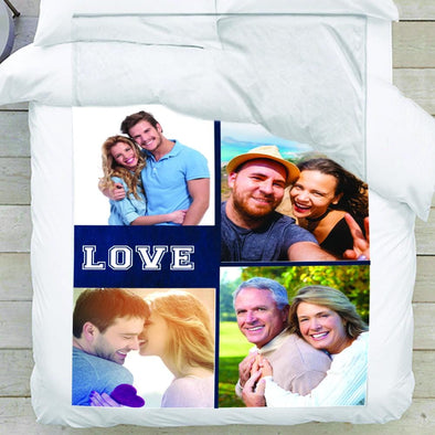 Customize Love Photo Personalized Collage Blanket - 4 photos