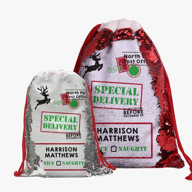 Christmas Special! Personalized Sequin Drawstring Bag.