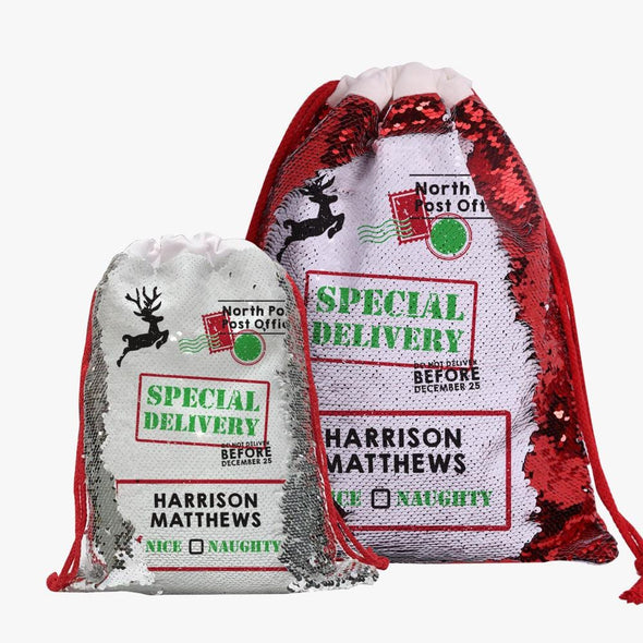 Exclusive Sale | Christmas Special! Personalized Sequin Drawstring Bag.