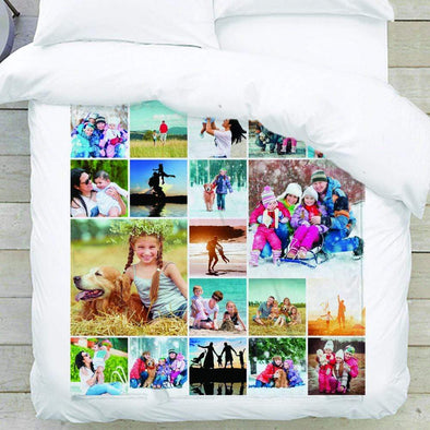 Custom photo collage fuzzy fleece blanket 50x60 in.