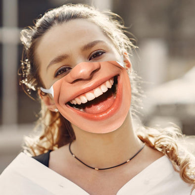 Exclusive Sale | Fun Women's Smily Face Reusable Face Mask w/ Optional Filter.