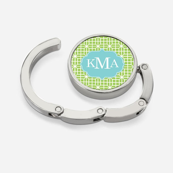Octagon Chain Round Folding Purse Hanger Personalized with Monogram.