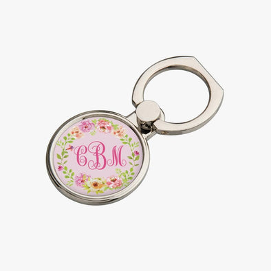 Personalized Round Floral Monogram Mobile Phone Ring Holder.