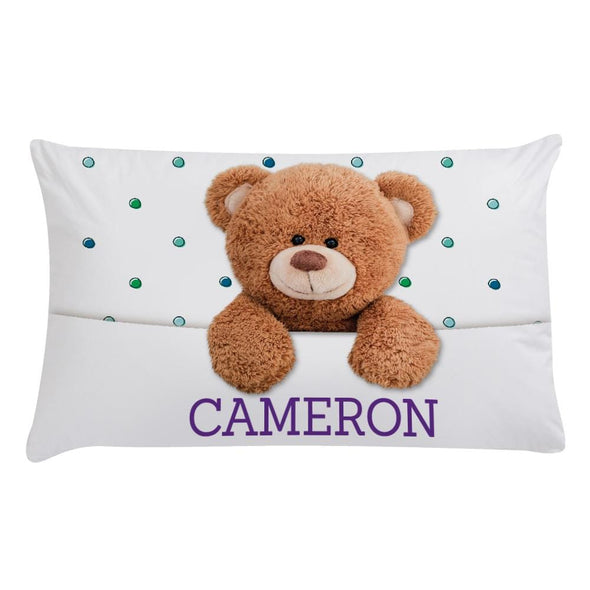 Personalized Caring Teddy Bear Sleeping Pillowcase.