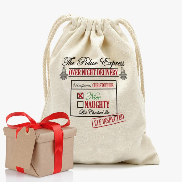 Custom Santa's Special Delivery Christmas Drawstring Sack | Personalized Santa Bag.