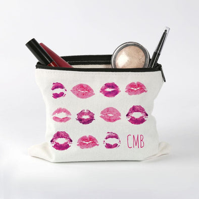 Lip Prints Custom Kisses Makeup Bag.