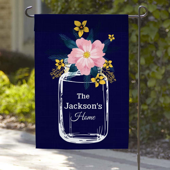 Personalized Flower Truck Welcome Garden Flag.