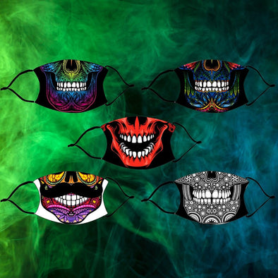Skull Halloween Design Printed Reusable Face Mask
