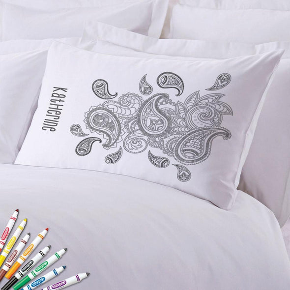Add Color Paisley Print Custom Pillowcase.