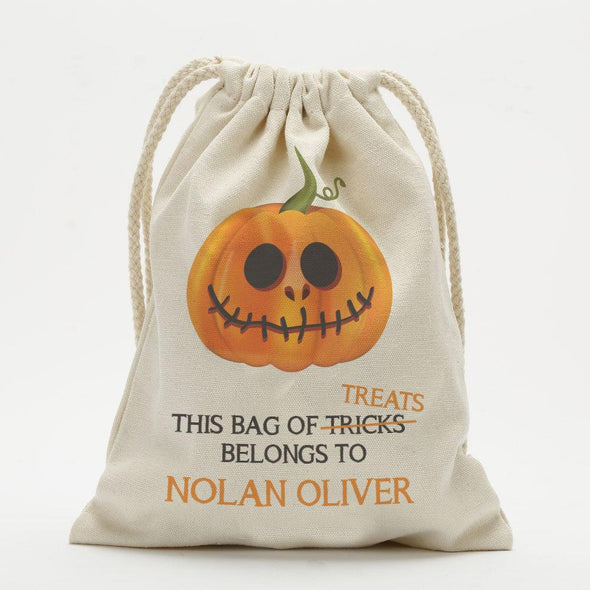 Bag Of Treats Custom Halloween Drawstring Sack for Kids | Personalized Halloween Trick or Treat Bag.