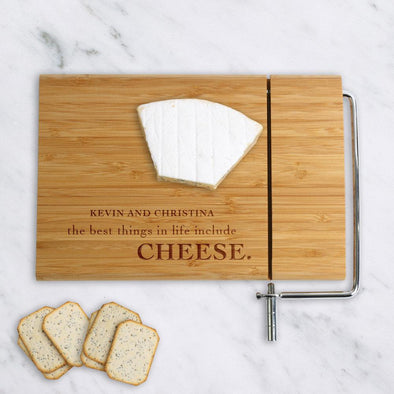 Best Things In Life...Personalized Wood Cheese Board w/ Slicer | Custom Cheese Board