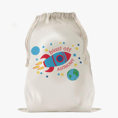 Blast Off To Dream Land Custom Drawstring Sack