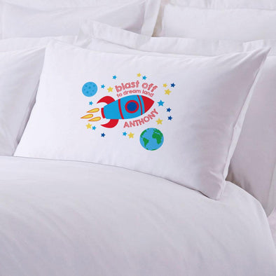 Blast Off To Dream Land Personalized Sleeping Pillowcase.