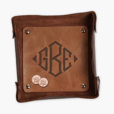 Block Monogram Two Toned Genuine Leather Stash Tray