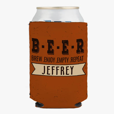 Brew Enjoy Empty Repeat Custom Can Koozie.