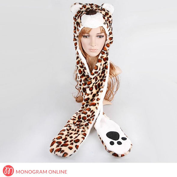 Cheetah Animal Hat with Paws | Winter Hat