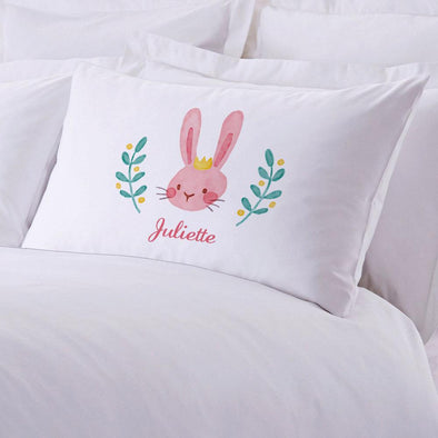 Crowned Easter Bunny Personalized Kids Sleeping Pillowcase.