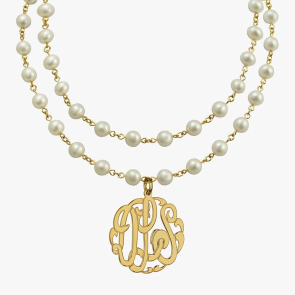 Pearl Necklace with Gold over Silver Monogram Pendant | Monogram Initial Necklace.