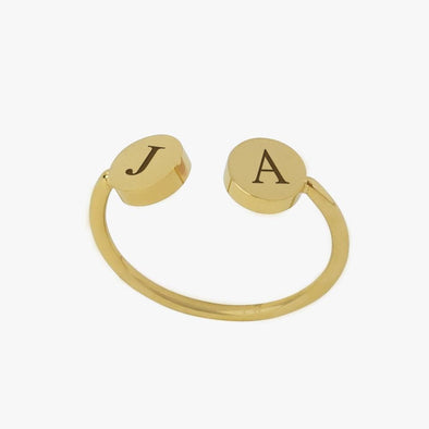Personalized w/ Two Initials Adjustable Gold Tone Stainless Steel Ring