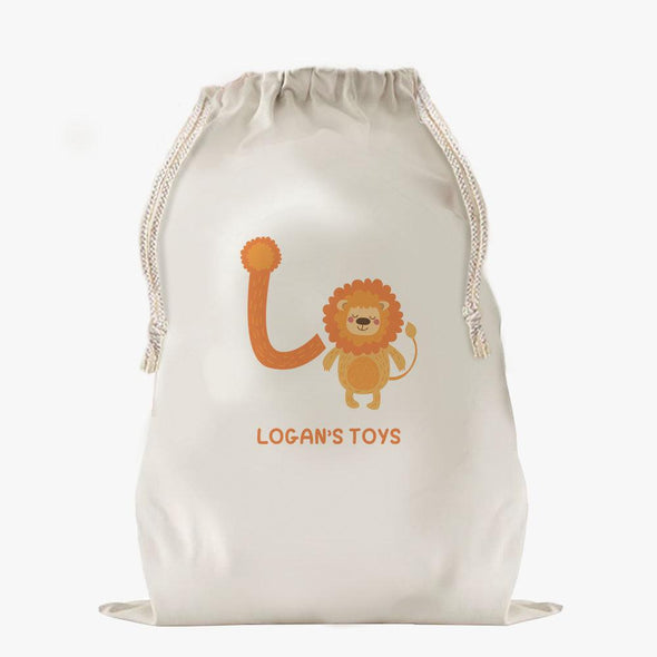 Custom Animal Alphabet Drawstring Sack.