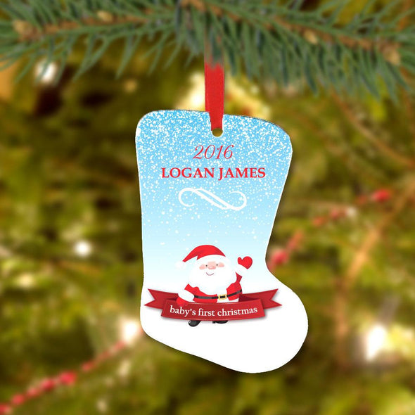 Custom Baby's First Christmas Stocking Metal Ornament.