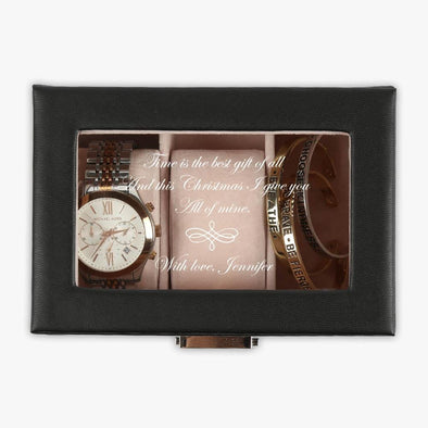 Custom Christmas Love 3-slot Small Black Leather Watch Case