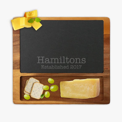 Personalized Established Family Square Cheese Slate Board w/ Acacia Base | Custom Cheese Board