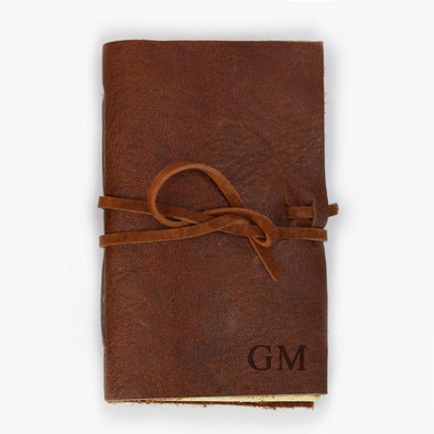 Custom Genuine Rustic Leather-Bound Mini Journal.