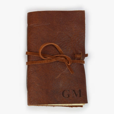 Exclusive Sale - Custom Genuine Rustic Leather-Bound Mini Journal.