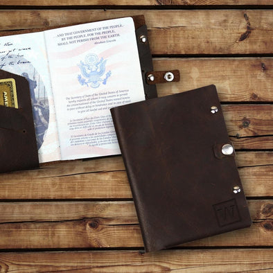 Custom Initial Genuine Leather Passport Holder.