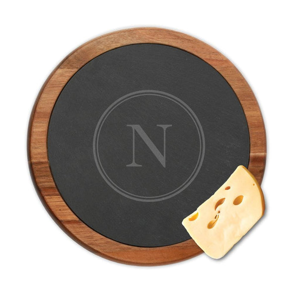 Personalized Initial Round Slate Cheese Board w/ Acacia Wood Border | Custom Cheese Board.
