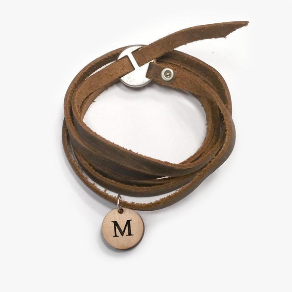 Custom Leather Wrap Bracelet With Wood Initial.