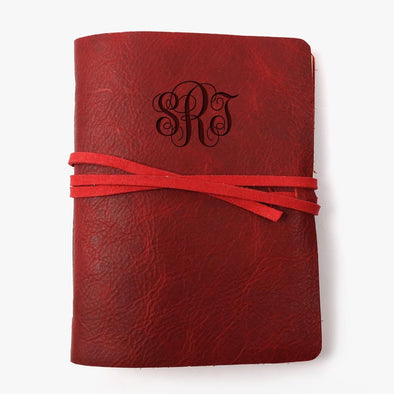 Monogram Genuine Soft Leather Wrap Journal - Medium