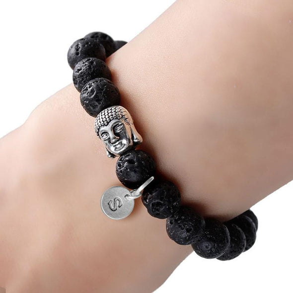 Exclusive Sale | Custom Natural Stone Lava Healing Bracelet With Antique Buddha Head.