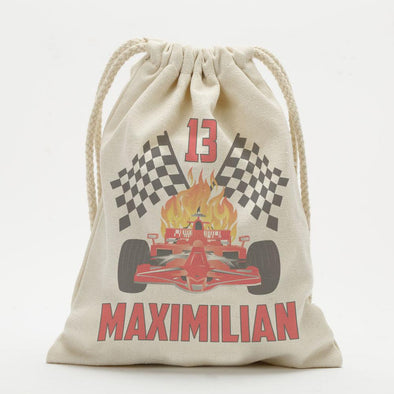 Custom Race Car Drawstring Sack.